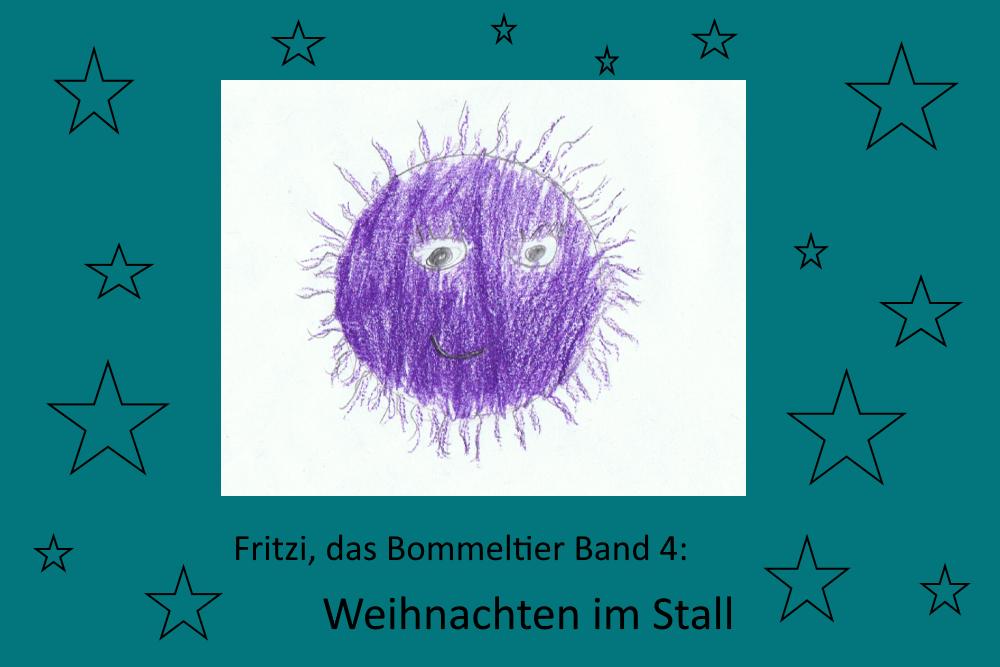 Ein gemaltes Bild, das Fritzi, das Bommeltier und Sterne zeigt
